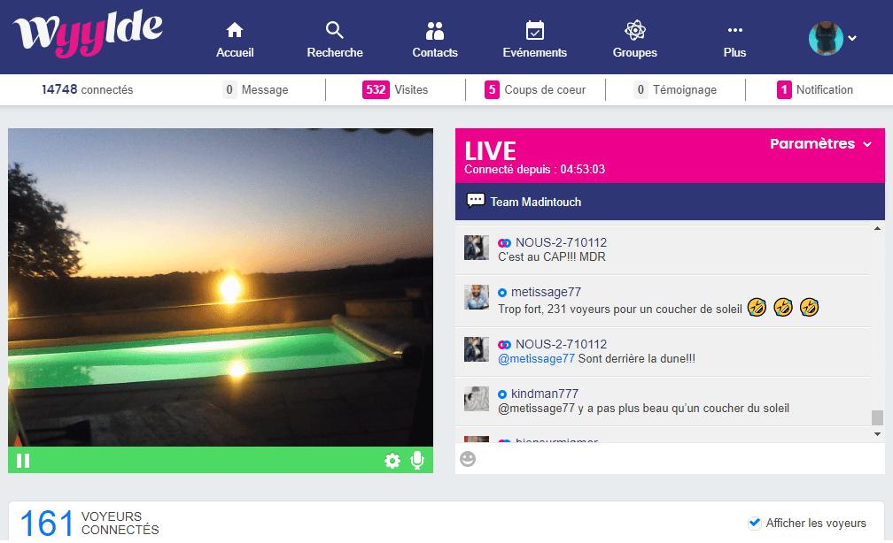 live show cam wyylde avec coucher de soleil et fan viewer